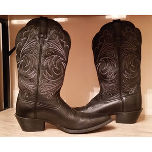 Ariat leather western cowboy boots sz 7 black